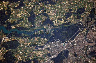 Bern - View of Bern from the ISS; The Old City is in the lower right-hand side.