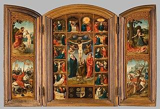 Drieluik met Christus aan het kruis en de zeven smarten en vreugden van Maria