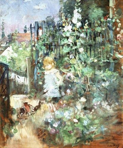 Berthe Morisot Kind zwischen Stockrosen