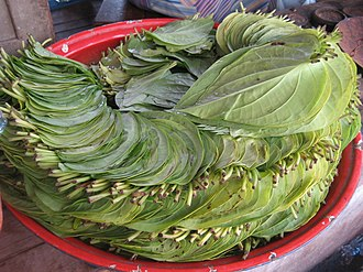 Paan - Betel leaves at a market in Mandalay, Burma