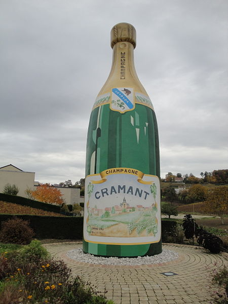 The big Champagne bottle of Cramant in the Côte des Blancs, situated at the northern entrance of the village (in the Cuis direction) at the D10 road.
