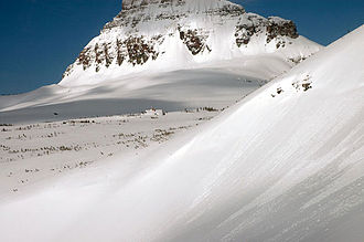 Montana - The Big Drift covering the Going-to-the-Sun Road in Glacier National Park as photographed on March 23, 2006