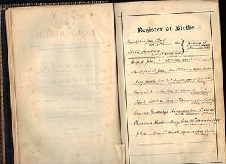 Maria Bird - Bird family birth registry from Bird family bible