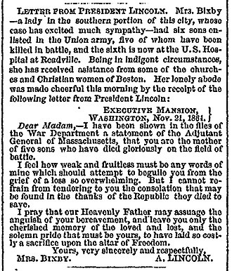Bixby letter - The Bixby letter in the Boston Evening Transcript