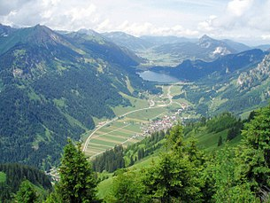 View of Nesselwängle and the Tannheim Valley