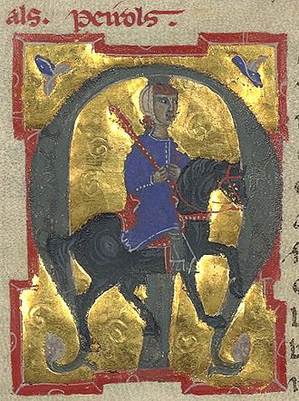 Peirol - A picture of Peirol illustrates his vida in a 13th-century chansonnier