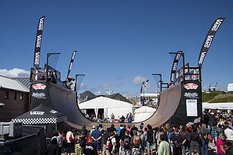 Half-pipe - Vert ramp at the 2010 Boardmasters Festival during the first skateboard free practice session