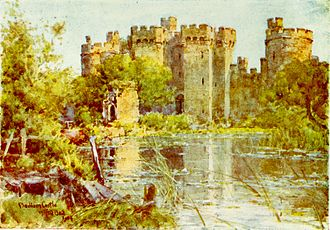 Bodiam Castle - A watercolour from 1906 by Wilfrid Ball showing the overgrown ruins and neglected moat of the castle. After being partially dismantled, Bodiam was left as a picturesque ruin.