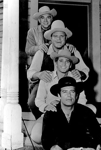 Front to back: Pernell Roberts, Michael Landon, Dan Blocker and Lorne Greene Bonanza full cast 1962.JPG
