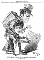 Exaggerated drawing of Bond, holding a tambourine, and another actor on tour.