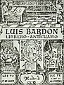Book store label, Declaracion magistral sobre las emblemas de Andres Alciato con todas las historias, antiguedades, moralidad y doctrina tocante a las buenas costumbres (1615) (14722635696) (cropped).jpg