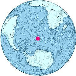 以布韦岛为中心的正投影世界地图