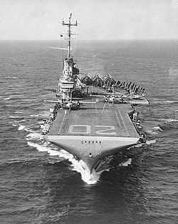 Bow view of USS Bennington (CVA-20), circa in 1956