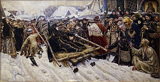 Old Believers - Vasily Surikov's Boyarynya Morozova, depicting the defiant Feodosia Morozova during her arrest. Her two raised fingers refer to the dispute about the proper way to make the sign of the cross.