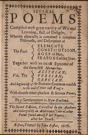 Anne Bradstreet - Title page, second (posthumous) edition of Bradstreet's poems, 1678