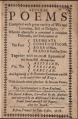 American poetry - Title page, second (posthumous) edition of Anne Bradstreet's poems, 1678