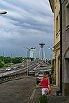 Bratislava - Židovská - View South to UFO Bridge.jpg