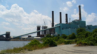 Thermal pollution - The Brayton Point Power Station in  Massachusetts discharged heated water to Mount Hope Bay. The plant was shut down in June 2017.