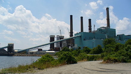 The Brayton Point Power Station in Massachusetts discharges heated water to Mount Hope Bay.