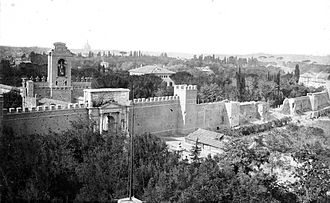 Papal States - The Breach of Porta Pia, on the right, in 1870.