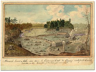 Cataraqui River - Image: Brewer's Lower Mill view down the Cataraqui Creek and clearing made for the Rideau Canal, 1829