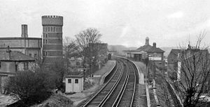 Broadstairs railway station - View NNW, towards Margate in 1963. Crampton Tower on the left