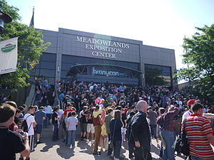 BronyCon - Bronies gathered outside the Meadowlands Exposition Center waiting for the convention to start on June 30, 2012