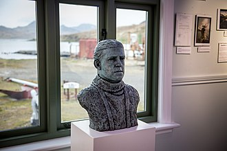 South Georgia Museum - Bronze portrait bust of Sir Ernest Shackleton by the sculptor Anthony Smith on display at the South Georgia Museum.
