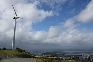 Brooklyn, New Zealand - The original Brooklyn wind-turbine, with Matiu/Somes Island, Mount Victoria and the Miramar Peninsula in the background