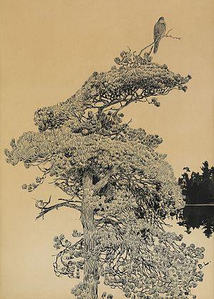Bruno Liljefors - Peregrine falcon in treetop
