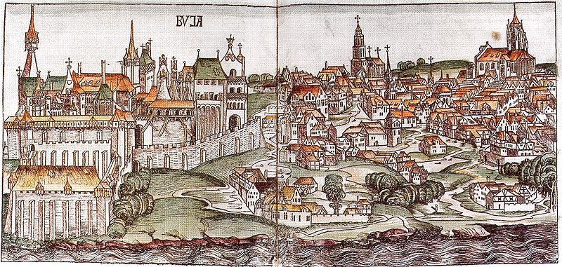 Illustration du chateau de Budapest en 1493.