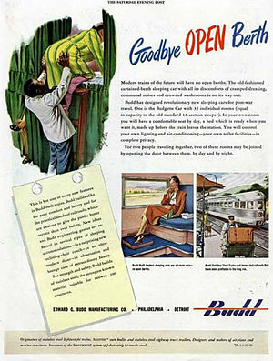 """Roomette - 1945 ad by the Budd Company for its """"Budgette"""" cars."""