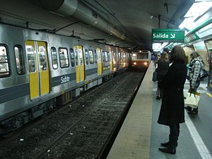Fiat-Materfer (Buenos Aires Underground) - Fiat-Materfer passing a 100 Series car on Line D.