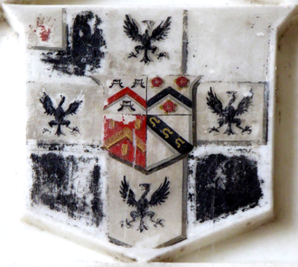 Sir Francis Buller, 1st Baronet - Detail from monument in  Brixham Church to Sir Francis Buller, showing arms of Buller with a baronet's canton of the Red Hand of Ulster, with inescutcheon of pretence of Yarde (of 4 quarters: 1: Argent, a chevron gules between three water bougets sable (Yarde); 4: Argent, on a bend sable three horse-shoes or  (Ferrers of Churston-Ferrers)) for his heiress wife Susanna Yarde (1740–1810)