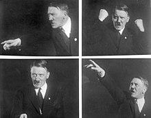 Assemblage de quatre photos noir et blanc de 1930, montrant des poses, de face et de profil, d'Adolf Hitler, typiques de sa gestuelle d'orateur survolté.