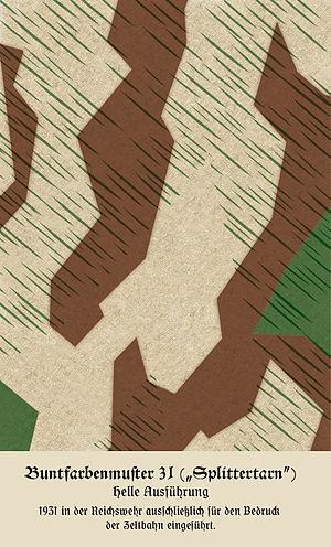 German World War II camouflage patterns - Splittertarnmuster (splinter pattern), designed by Johann Georg Otto Schick, 1931, initially for Zeltbahn shelter halves, was the basis on which the German Second World War camouflage clothing patterns were developed.
