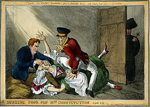 Robert Peel - This satirical 1829 cartoon by William Heath depicted the Duke of Wellington and Peel in the roles of the body-snatchers Burke and Hare suffocating Mrs Docherty for sale to Dr. Knox; representing the extinguishing by Wellington and Peel of the 141-year-old Constitution of 1688 by Catholic Emancipation.