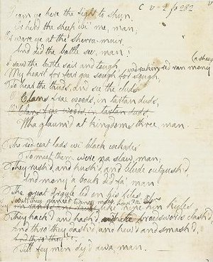 "The Battle of Sherramuir - The original manuscript of ""The Battle of Sherramuir""."