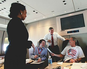 Kavanaugh (blue shirt) with President Bush, Andy Card, and Condoleezza Rice Bush, Card, Kavanaugh, and Rice.jpg
