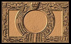 A tray with elaborately carved borders, placing a circle within a rectangle.