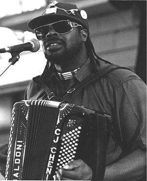 Zydeco - C. J. Chenier performing in the Ross Bandstand