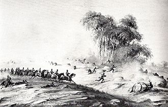 Xhosa Wars - The Cape Mounted Riflemen charging the enemy at Waterkloof during the 8th Frontier War