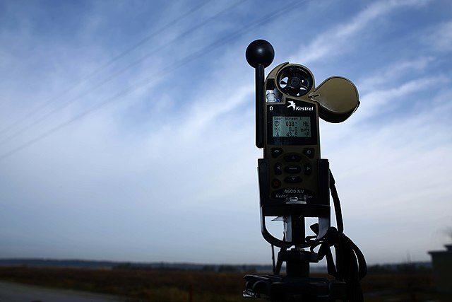 Automated weather station for temperature, pressure, relative humidity, and wind measurements.  Our station will be similar but not identical to this one.  Image credit: US Marine Corps (public domain)