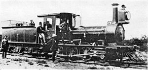 CGR 1st Class 2-6-0 1876 BP - 1st Class 2-6-0 at Bellville, numbered 7 aft of the smokebox