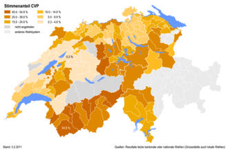 Christian Democratic People's Party of Switzerland - Percentages of the CVP at district level in 2011