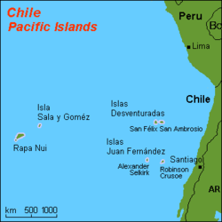 Map of Insular Chile with Easter Island, Sala y Gómez, Desventuradas Islands and Juan Fernández Islands