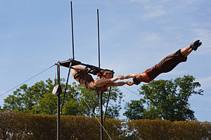 Cradle (circus act) - Aerial cradle performance by the compagnie Kaoukafela during an open air festival in France.