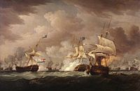 On a dark stormy sea beneath towering clouds, an indeterminate number of sailing warships battle. In the foreground are three ships, one to the right of the frame and one in the centre bridged by clouds of smoke as the mainmast of the far right ship, which bears a prominent horizontally striped flag is toppling. To the left of the frame and partially obscuring the central ship is a third vessel that drifts as flames leap from its deck.