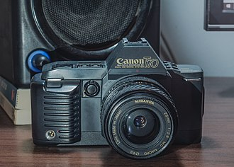 Canon T70 - The front of the camera.