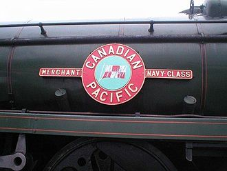 SR Merchant Navy class - Nameplate configuration of the Merchant Navy class (here 35005 Canadian Pacific)